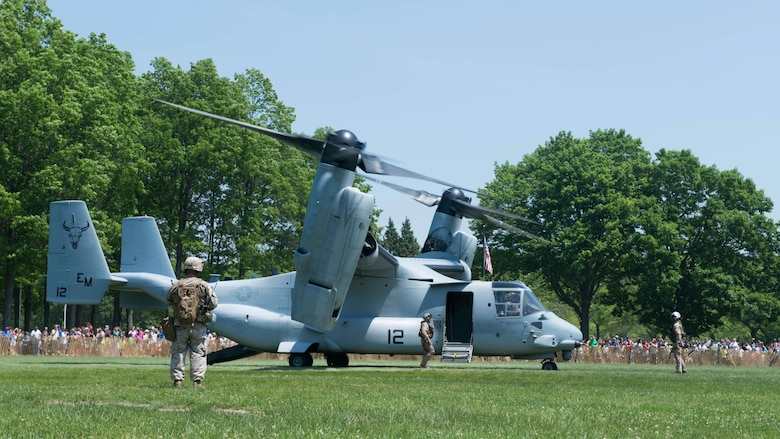 Marines land an MV-22 Osprey at Eisenhower Park during Military Day as part of Fleet Week in East Meadow, New York, May 28, 2016. The Marines and sailors are visiting to interact with the public, demonstrate capabilities and teach the people of New York about America's sea services.