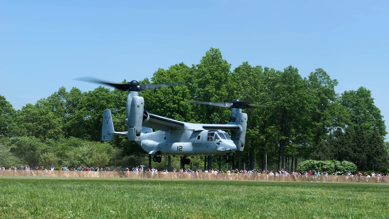 A U.S. Marine Corps MV-22 Osprey lands at Eisenhower Park during Military Day as part of Fleet Week in East Meadow, New York, May 28, 2016. The Marines and sailors are visiting to interact with the public, demonstrate capabilities and teach the people of New York about America's sea services.