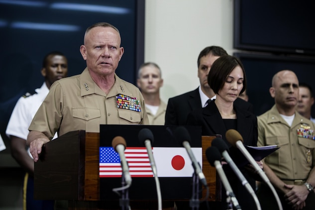 Lt. Gen. Lawrence D. Nicholson announces a 30-day period of unity and mourning for all U.S. military and Status of Forces Agreement personnel on Okinawa, at a press conference on Camp Foster, Okinawa, Japan, May 28, 2016. Out of respect for the people of Okinawa, Nicholson chose to demonstrate the solidarity of the U.S. service members here and the people of Okinawa by honoring the recent loss of an Okinawan female. The period of unity and mourning was directed to all U.S. military, and Nicholson also highly encouraged all SOFA-status members to partake, as this period will serve as a time to reflect on personal conduct, to consider their roles as ambassadors to Japan, and demonstrate the deepest sympathies for the victim and her family. Nicholson, from Toronto, Canada, is the Okinawa Area Coordinator and commanding general for III Marine Expeditionary Force. (U.S. Marine Corps photo by Lance Cpl. Jessica N. Etheridge/Released)