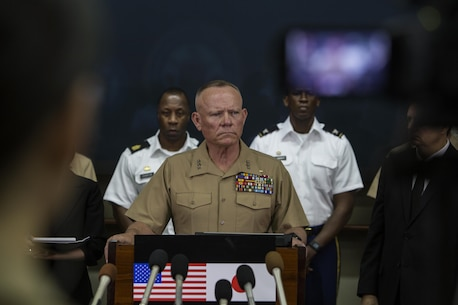 Lt. Gen. Lawrence D. Nicholson announces a 30-day period of unity and mourning for all U.S. military and Status of Forces Agreement personnel on Okinawa, at a press conference on Camp Foster, Okinawa, Japan, May 28, 2016. Out of respect for the people of Okinawa, Nicholson chose to demonstrate the solidarity of the U.S. service members here and the people of Okinawa by honoring the recent loss of an Okinawan female. The period of unity and mourning was directed to all U.S. military, and Nicholson also highly encouraged all SOFA-status members to partake, as this period will serve as a time to reflect on personal conduct, to consider their roles as ambassadors to Japan, and demonstrate the deepest sympathies for the victim and her family. Nicholson, from Toronto, Canada, is the Okinawa Area Coordinator and commanding general for III Marine Expeditionary Force. (U.S. Marine Corps photo by GySgt Jeremy Vought/Released)