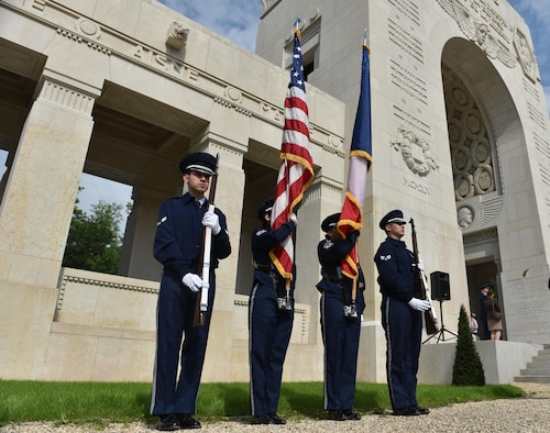 PARIS – An Honor Guard of U.S. Air Force Airmen from Ramstein Air Base, Germany, stand ready to commemorate Memorial Day in a ceremony at the Lafayette Escadrille Memorial, in Marnes-la-Coquette, France, May 28, 2016. During the ceremony, speakers honored the shared sacrifices of U.S. and French service members fighting for each other's freedom and security in a relationship that began more than 240 years ago in the American Revolutionary War. (U.S. Air Force photo by Senior Master Sgt. Brian Bahret/Released)