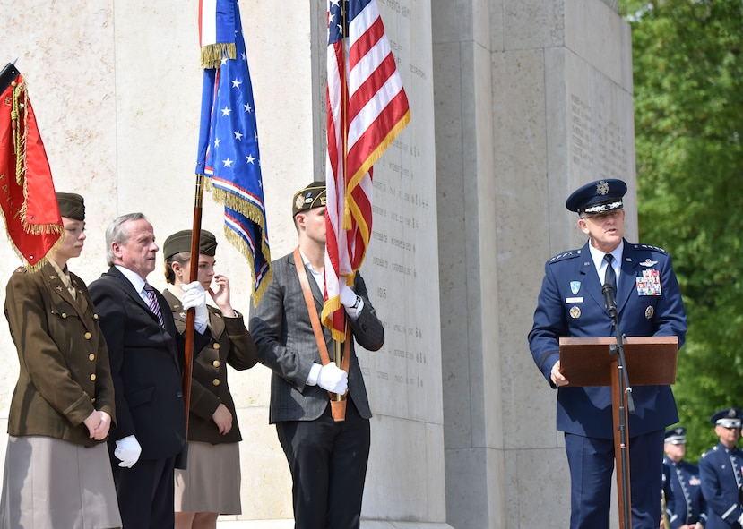 PARIS – U.S. Air Force Gen. Frank Gorenc, U.S. Air Forces in Europe-Air Forces Africa commander, deliveres a speech during a Memorial Day ceremony at the Lafayette Escadrille Memorial, in Marnes-la-Coquette, France, May 28, 2016. During the ceremony, French and American speakers honored the shared sacrifices of U.S. and French service members fighting for each other's freedom and security in a relationship that began more than 240 years ago during the American Revolutionary War. (U.S. Air Force photo by Senior Master Sgt. Brian Bahret/Released)