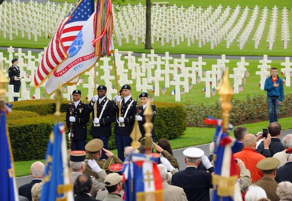 Members of the 16th Sustainment Brigade present the colors during a Memorial Day ceremony May 29, 2016, at Lorraine American Cemetery and Memorial, in St. Avold, France. Memorial Day recognizes men and women who have died while serving in the Armed Forces. (U.S. Air Force photo/Staff Sgt. Sharida Jackson)