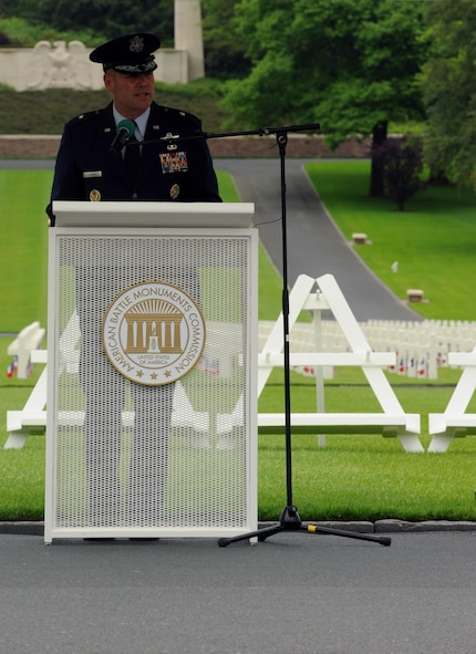 Brig. Gen. Jon Thomas, 86th Airlift Wing commander, delivers a speech during a Memorial Day ceremony May 29, 2016, at Lorraine American Cemetery and Memorial, in St. Avold, France. Memorial Day commemorates fallen servicemembers. (U.S. Air Force photo/Staff Sgt. Sharida Jackson)