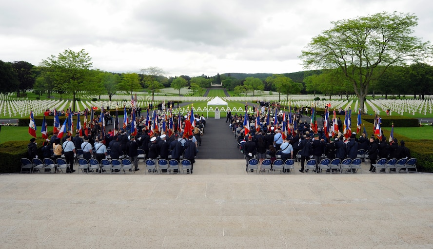 Attendees await the arrival of the official party May 29, 2016 at Lorraine American Cemetery and Memorial, in St. Avold, France. More than 1,500 people attended the Memorial Day ceremony honoring fallen American servicemembers. (U.S. Air Force photo/Staff Sgt. Sharida Jackson)