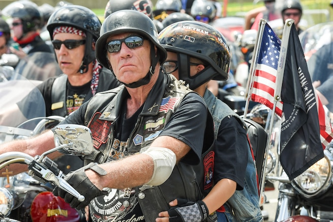 Rolling Thunder participants gather at the Pentagon's north parking lot, May 29, 2016. Started as a way to bring attention to the POW/MIA situation after the Vietnam War, the demonstration ride honors prisoners of war, Americans missing in action and all who have served. DoD photo by Army Sgt. 1st Class Clydell Kinchen