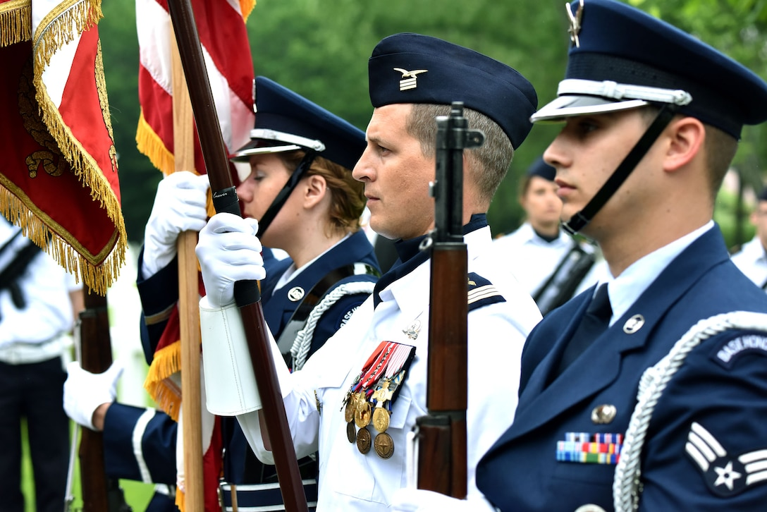 An Honor Guard of U.S. Air Force Airmen from Ramstein Air Base, Germany, prepare to commemorate Memorial Day in a ceremony at the Lafayette Escadrille Memorial, in Marnes-la-Coquette, France, May 28, 2016. During the ceremony, speakers honored the shared sacrifices of U.S. and French service members fighting for each other's freedom and security in a relationship that began more than 240 years ago in the American Revolutionary War. (U.S. Air Force photo by Senior Master Sgt. Brian Bahret/Released)