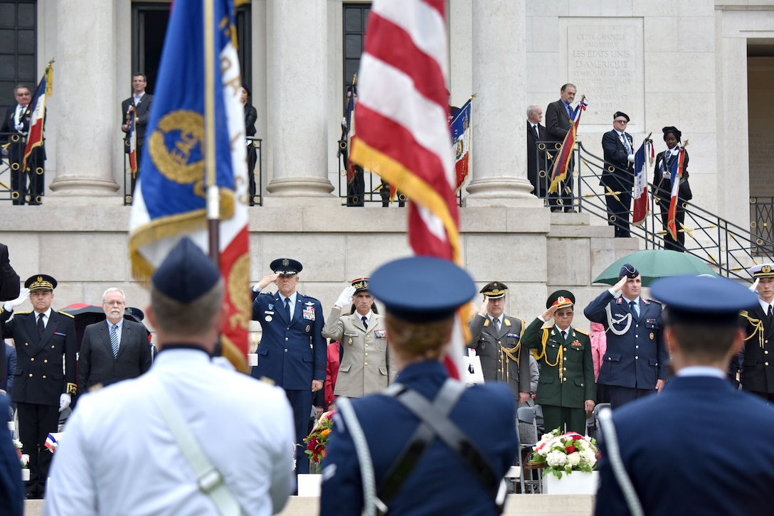 U.S. and French officials held a Memorial Day Ceremony at the Suresnes American Cemetery, May 29, 2016, honoring fallen servicemembers and acknowledging the enduring relationship the two countries forged during the American Revolutionary War. The cemetery is the final resting place for 1,565 Americans who fought and died in France during WWI and WWII.  More than 200 civilians, military members and official delegates from Poland, Vietnam, Japan, Germany, France and the United States attended the event. (U.S. Air Force photo by Senior Master Sgt. Brian Bahret/Released)