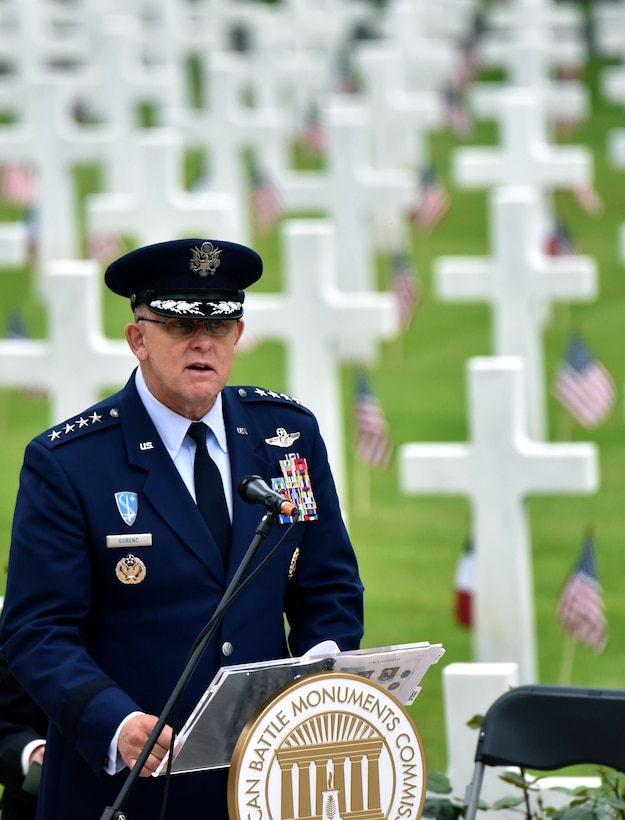 U.S. Air Force Gen. Frank Gorenc, U.S. Air Forces in Europe-Air Forces Africa commander, delivers a speech during a Memorial Day ceremony at the Suresnes American Cemetery, May 29, 2016. During the event guest speakers honored fallen servicemembers and acknowledged the enduring relationship the two countries forged during the American Revolutionary War. The cemetery is the final resting place for 1,565 Americans who fought and died in France during WWI and WWII.  More than 200 civilians, military members and official delegates from Poland, Vietnam, Japan, Germany, France and the United States attended the event. (U.S. Air Force photo by Senior Master Sgt. Brian Bahret/Released)
