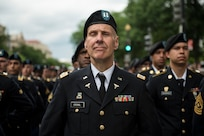 Capt. Daniel Erchul, U.S. Army Reserve Soldier, stands in formation on Constitution Avenue during the 2016 National Memorial Day Parade in Washington, D.C., May 30. Soldiers in formation were from the 200th Military Police Command, from Fort Meade, Maryland; the 55th Sustainment Brigade, from Fort Belvoir, Virginia; and the Military Intelligence Readiness Command, from Fort Belvoir. (U.S. Army photo by Master Sgt. Michel Sauret)