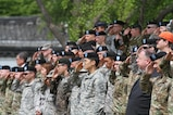 Service Members of the United Nations Command, Combined Forces Command and U.S. Forces Korea render a salute during a repatriation ceremony on the Knight Field, April 28. (U.S. Army photo by Sgt. Choi, Woo Hyuk/Released)