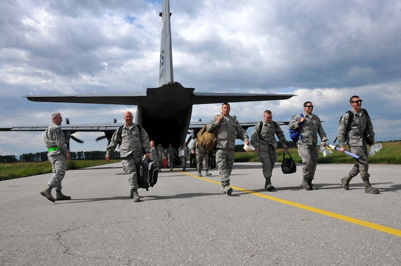 U.S. Air Force and Massachusetts Air National Guard members, previously stationed at Amari Air Base, Estonia, are reunited with their 104th Fighter Wing members stationed to Graf Ignatievo, Bulgaria, May 27, 2016. Wing members are part of a theater security package deployed to multiple European locations in support of Operation Atlantic Resolve. Operation Atlantic Resolve focuses on conducting training alongside NATO allies and partners to strengthen interoperability and demonstrate U.S. commitment to a Europe that is whole, free, at peace, secure and prosperous. (U.S. Air National Guard Photo by Senior Airman Loni Kingston)