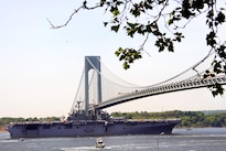 The USS Bataan approaches the Verrazano-Narrows Bridge during the parade of ships at Fleet Week New York in New York City, May 25, 2016. Army photo by Edward Loomis