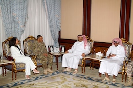 Lt. Gen. Michael X. Garrett (center left), the commanding general of U.S. Army Central, discusses bilateral ties and partnership capabilities with Khalib Al-Attiyah, the minister of state and foreign defense affairs for Qatari the Qatari military headquarters in Doha, Qatar, April 25. The USARCENT command team met with leaders of partner militaries throughout USARCENT's area of responsibility to continue to build bilateral partnership ties.