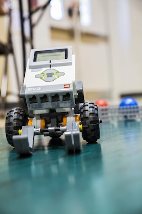 A robot built by students sits on display at Charles F. Bolden Elementary-Middle School May 6. Bolden and Robert E. Galer Elementary School on Laurel Bay held their 2016 STEMposium. STEMposium is the culmination of the science, technology, engineering, and mathematics, or STEM, curriculum. The STEM program is designed to give students a basic understanding of the core subjects and encourage the pursuit of careers in those fields.