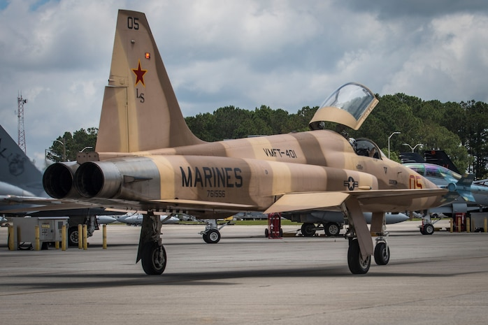 An F-5N Tiger II aircraft prepares to take off from the flight line aboard Marine Corps Air Station Beaufort May 18. The aircraft arrived at the air station to support Marine Fighter Attack Training Squadron 501 in air-to-air training from May 17-27. Marine Fighter Training Squadron 401 brought seven F-5N Tiger II aircraft to support red air for VMFAT-501. Red air is the adversary forces for air-to-air training.