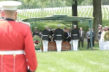 On May 31, 2016, the Marine Band, led by Drum Major Master Sgt. Duane King, participated in the funeral for World War II casualty Pfc. James Johnson, USMC. Pfc. Johnson was killed in action on Nov. 20, 1943 during the Battle of Tarawa in the central Pacific Ocean. In June 2015 History Flight, a private organization, excavated what was believed to be a wartime fighting position on the island of Betio. During this excavation History Flight recovered 35 sets of remains. The Joint POW/MIA Accounting Command used used Y-Short Tandem Repeat DNA analysis, which matched a nephew; laboratory analysis, including dental analysis, chest radiograph comparison, and anthropological comparison, which matched Johnson's records; as well as circumstantial and material evidence to identify Pfc. Johnson. His remains were returned to the United States and buried at Arlington National Cemetery's Section 60 with military honors. (U.S. Marine Corps photo by Master Sgt. Kristin duBois/released)