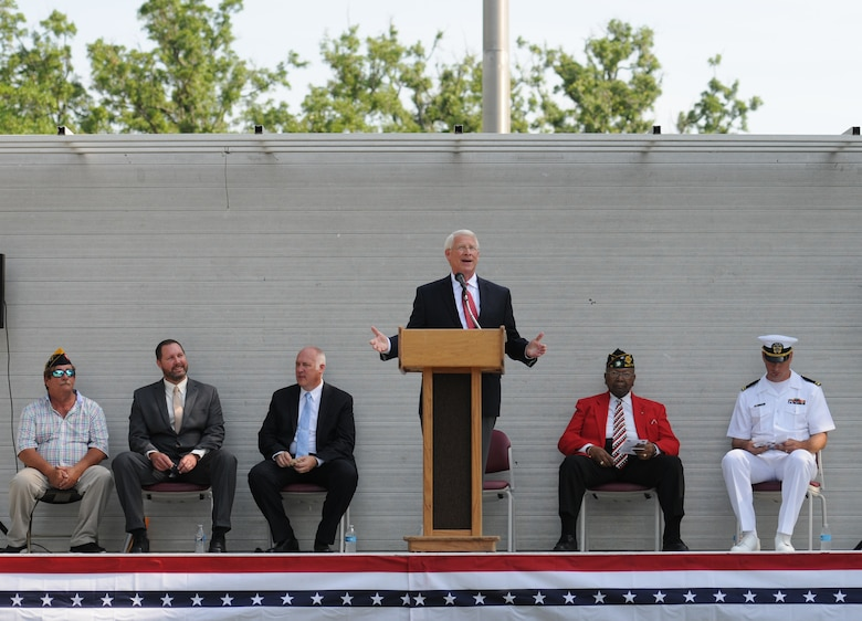 U.S. Senator Roger Wicker delivers remarks during a Memorial Day Ceremony May 30, 2016, Biloxi, Miss. Local veterans, family members and Keesler Air Force Base personnel attended the event at the Biloxi National Cemetery to honor and remember the lives of fallen heroes of the U.S. military. (U.S. Air Force photo by Kemberly Groue)