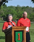 Maj. Gen. Wayne W. Grigsby Jr., 1st Infantry Division and Fort Riley commanding general, speaks to the gathering at Run for the Fallen May 7 at Riley's Conference Center. Joining him is Command Sgt. Maj. Joseph Cornelison, 1st Inf. Div. senior noncommissioned officer.