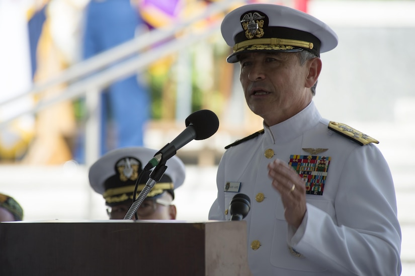 160531-N-UG232-222 Honolulu, Hawaii (May 31, 2016) Adm. Harry Harris, Commander of U.S. Pacific Command, speaks during the Honolulu Mayor's Memorial Day Ceremony at the National Memorial Cemetery of the Pacific. U.S. Pacific Command's mission is to enhance stability in the Indo-Asia-Pacific by promoting security cooperation and deterring aggression.