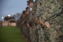 Marines and sailors with Company C, 1st Battalion, 1st Marine Regiment, Marine Rotational Force - Darwin, stand in formation together to commemorate their fallen brothers in arms at Hampstead Barracks, South Australia, Australia, May 30, 2016. A list of 47 Company C Marines who were killed in action during World War II, Korean War and the Vietnam War was read aloud to remind the Marines and sailors of the purpose of Memorial Day.