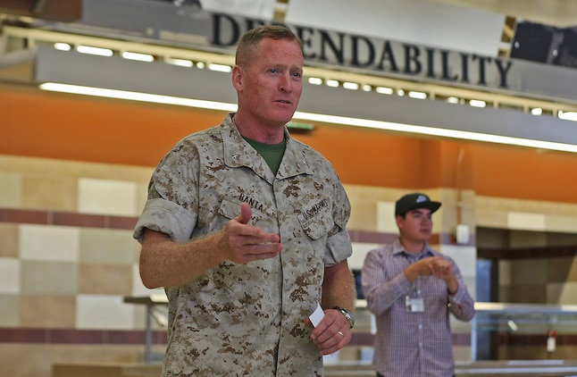 Brig. Gen. Edward D. Banta, Commanding General, Marine Corps Installations-West, Marine Corps Base Camp Pendleton, speaks during a ceremony naming Camp Pendleton's 31 Area Edson Range Mess Hall the Maj. Gen. William Pendleton Thompson Hill Award winners for best full food service mess hall in the Marine Corps, May 31. The W.P.T. Hill Award was established in 1985 to improve food service operation and recognize the best messes in the Marine Corps.