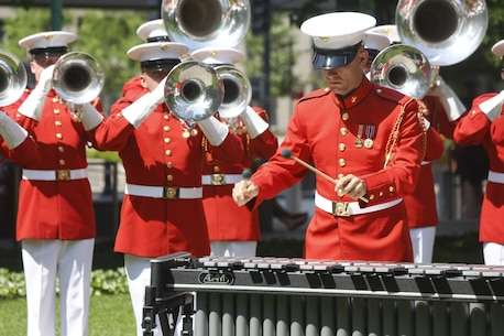 The Commandant's Own performs at the 9/11 Memorial during Fleet Week New York, May 29, 2016. U.S. Marines and sailors are in New York to interact with the public, demonstrate capabilities, and teach the people of New York about America's sea service. (U.S. Marine Corps Photo by Lance Cpl. Jimmy J. Vertus Combat Camera/Released).