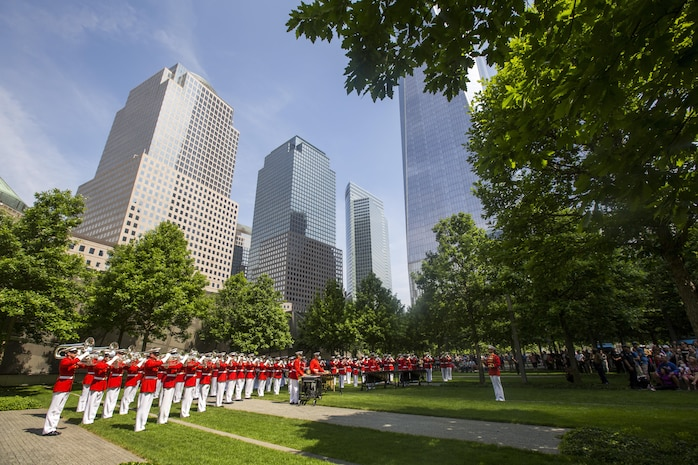 The Commandant's Own performs at the 9/11 Memorial in New York, May 29, 2016. U.S. Marines, sailors and Coast Guardsmen are in New York to interact with the public, demonstrate capabilities and teach the people of New York about America's sea services. (U.S. Marine Corps Photo by Sgt. Rebecca L. Floto, 2D MARDIV Combat Camera/Released)