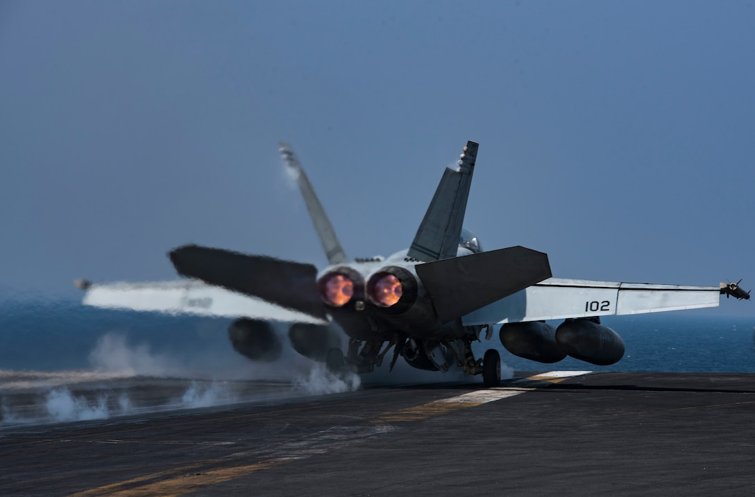 An F/A-18F Super Hornet, assigned to Strike Fighter Squadron (VFA) 32, launches from the flight deck of the aircraft carrier USS Dwight D. Eisenhower (CVN 69) (Ike). Ike and its carrier strike group are deployed in support of Operation Inherent Resolve, maritime security operations and theater security cooperation efforts in the U.S. 5th Fleet area of operations. (U.S. Navy photo/Petty Officer 3rd Class Nathan T. Beard)