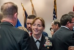 Rear Adm. Michelle Skubic, commander, DLA Land and Maritime, talks to guests after a change of command ceremony Oct. 31. Skubic arrives after serving in the U.S. Pacific Fleet as director, logistics, Fleet Supply and Ordnance.