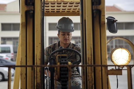 Sgt. Angie Novoa, a warehouse chief with Special Purpose Marine Air-Ground Task Force Crisis Response-Africa, operates a forklift outside of her warehouse on Naval Air Station Sigonella, Italy, Oct. 28, 2016.  Novoa was awarded the non-commissioned officer of the quarter for her exemplary work in and out of the supply shop while deployed with SPMAGTF-CR-AF.  (U.S. Marine Corps photo by Cpl. Alexander Mitchell/released)