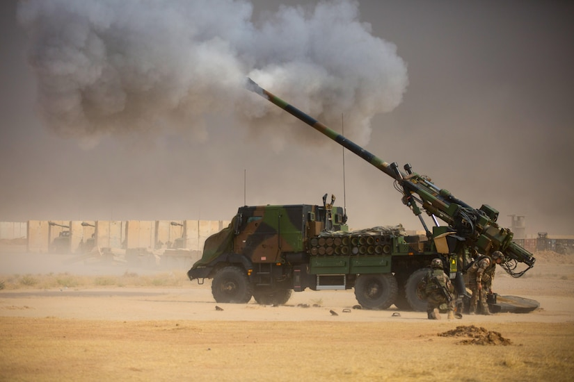 French soldiers conduct a fire mission at Qayyarah West, Iraq, in support of the Iraqi security forces' advance toward Mosul, Oct. 17, 2016. The support provided by the Caesar truck- mounted artillery system teams denies the Islamic State of Iraq and the Levant (ISIL) safe havens while providing the ISF with vital artillery capabilities during their advance. The United States stands with a Coalition of more than 60 international partners to assist and support the Iraqi security forces to degrade and defeat ISIL.  (U.S. Army photo by Spc. Christopher Brecht)