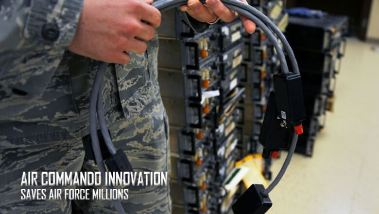 U.S. Air Force Staff Sgt. Ronald Brandtman, 27th Special Operations Support Squadron Airfield Systems supervisor, holds a piece of equipment that facilitates the testing of Air Traffic Control radios and equipment, Oct. 12, 2016 at Cannon Air Force Base, N.M. Brandtman and members of the Airfield Systems team designed, built and implemented the part and saved the Air Force millions of dollars in the process. (U.S. Air Force photo/Staff Sgt. Whitney Amstutz/released)