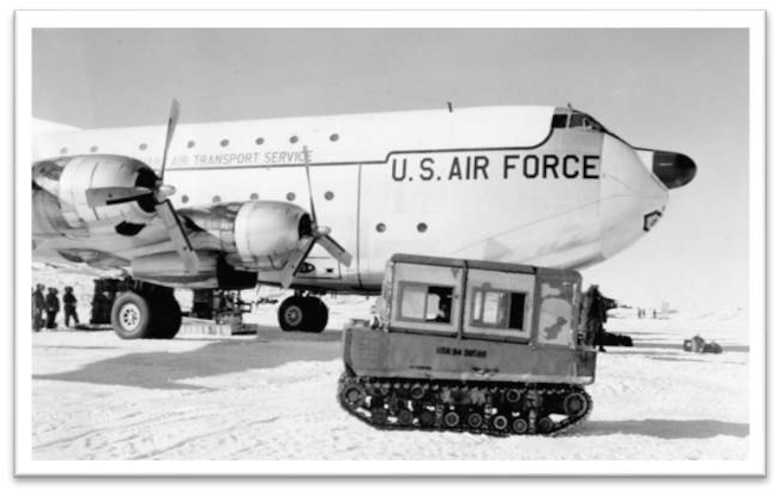 """Miss North Caroline,"" the C-124 that was flown to McMurdo Station, Antarctica on Oct. 21, 1956. The flight from Christchurch International Airport, New Zealand took more than 12 hours to complete. (Courtesy photo)"