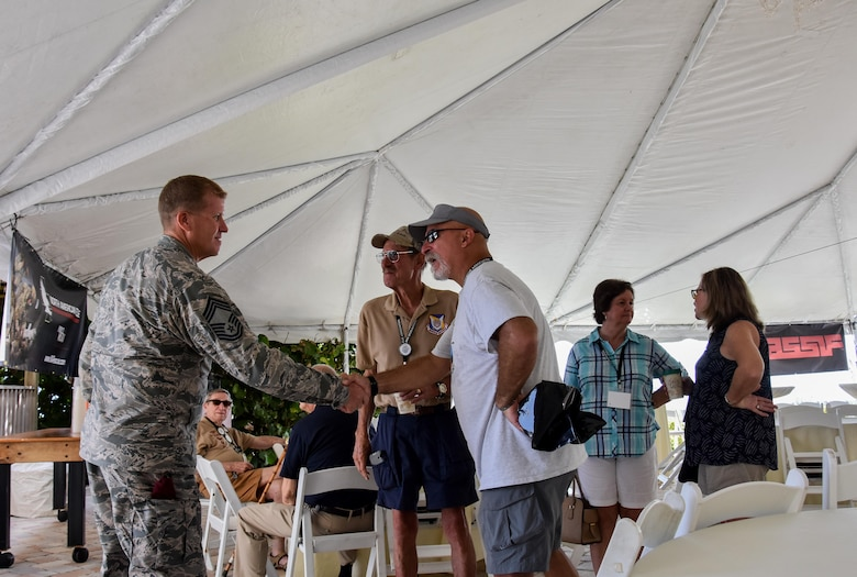 Retired Col. Kurt Buller, former special tactics officer, delivers remarks as the guest speaker during the 2016 Pararescue Reunion in Melbourne, Florida, September 23, 2016. The reunion brought in more than 600 retired and currently-serving PJs and their families to the beaches near Patrick Air Force Base, Florida. (U.S. Air Force photo/ Staff Sgt. Dana White)