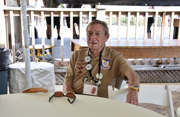 Aaron Farrior, former pararesuceman who served during the Vietnam War, takes a seat during the 2016 Pararescue Reunion in Melbourne, Florida, September 22, 2016. Farrior is the recipient of a Sliver Star and four Distinguished Flying Crosses for his actions and service during the Vietnam War. (U.S. Air Force photo/ Staff Sgt. Dana White)