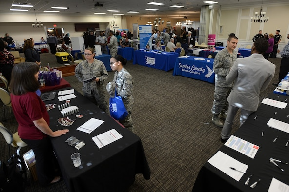 Team Shaw members speak with representatives from local businesses and universities at the 20th Force Support Squadron's annual Job and Education Fair at Shaw Air Force Base, S.C., Oct. 27, 2016. The goal of the fair is to connect job and education seekers with representatives from organizations in Sumter County to inform them about education opportunities and the job market in the local area. (U.S. Air Force photo by Senior Airman Zade Vadnais)