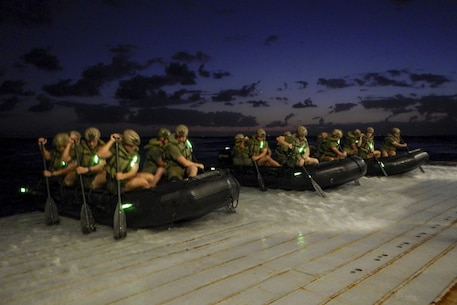 USS GREEN BAY (LPD-20), At Sea, (Aug. 29, 2016)– Marines assigned to Company F, Battalion Landing Team, 2nd Battalion, 4th Marines, 31st Marine Expeditionary Unit use combat rubber raiding craft to conduct a launch and recovery exercise from the well deck of the USS Green Bay (LPD-20), at sea, Aug. 29, 2016. The 31st MEU is task-organized to address a wide variety of military operations in the Asia-Pacific region, from force projection and maritime security to humanitarian assistance and disaster relief. (U.S. Marine Corps photo by Cpl. Darien J. Bjorndal, 31st Marine Expeditionary Unit/ Released)