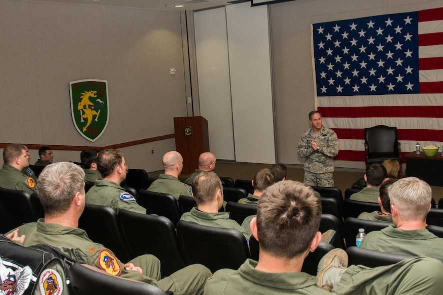 Air Force Chief of Staff Gen. David L. Goldfein speaks to 25th Fighter Squadron pilots during a briefing at Osan Air Base, Republic of Korea, Oct. 31, 2016. Goldfein spoke with the pilots about upcoming changes and plans for fighter pilot retention. Goldfein visited Osan to communicate his focus areas of revitalizing squadrons, strengthening joint leaders and teams, and multi-domain command and control. (U.S. Air Force photo by Senior Airman Dillian Bamman)