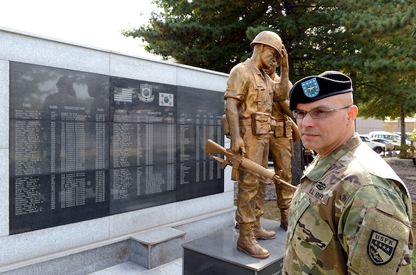 Brigadier Gen. Raul E. Escribano stands in front of the ROK-US Korean War memorial located on U.S. Army Garrison Yongsan.
