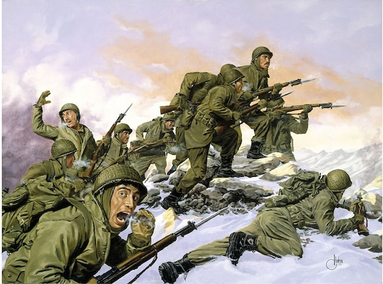 Painting depiction of the U.S. 65th Infantry Regiment's bayonet charge against a Chinese division during the Korean War, by Dominic D'Andrea, 1992.