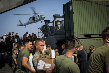 ABOARD USS GERMANTOWN (LSD-42), At Sea, (Aug. 31,2016) – Marines and sailors with the USS Bonhomme Richard Expeditionary Strike Group conduct a resupply mission aboard the USS Germantown (LSD-42). The resupply was done in support of the 31st MEU's fall patrol. The 31st MEU is the Marine Corps' only continuously forward-deployed Marine Air-Ground Task Force, and combines air-ground-logistics into a single team capable of addressing a wide variety of military operations in the Asia-Pacific region, from force projection and maritime security to humanitarian assistance and disaster relief. (U.S. Marine Corps photo by Lance Cpl. Jorge A. Rosales/released)