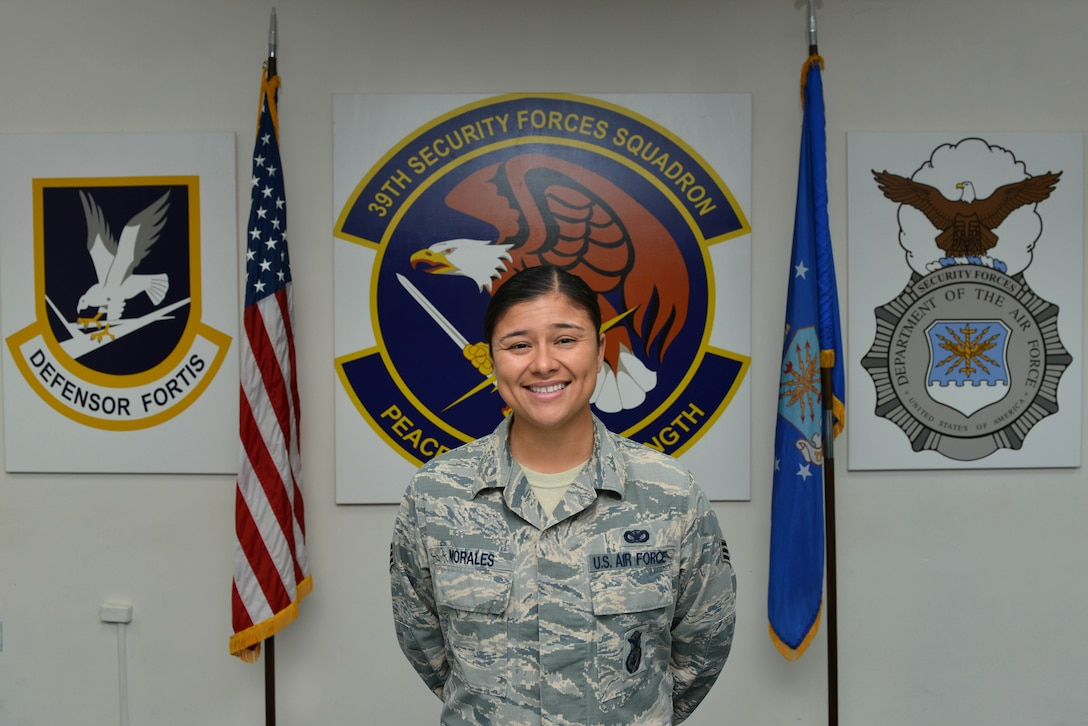 U.S. Air Force Senior Airman Megan Morales, 39th Security Forces Squadron reports and analysis section lead, was recently hand-picked for commission through the Senior Enlisted Commissioning Program Oct. 28, 2016, at Incirlik Air Base, Turkey. (U.S. Air Force photo by Senior Airman John Nieves Camacho)
