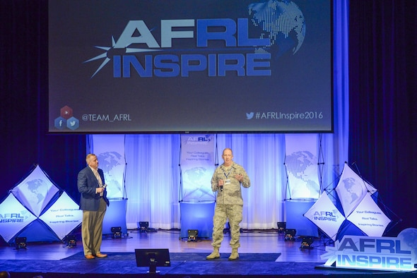 Maj. Gen. Robert D. McMurry Jr., commander of the Air Force Research Laboratory and Dr. Morley Stone, AFRL's Chief Technology Officer deliver opening remarks for the second annual AFRL Inspire event held Oct. 26 at the Dayton Art Institute. (U.S. Air Force photo/Wesley Farnsworth)