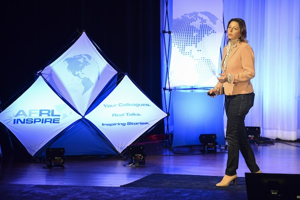 Dr. Wendy Goodson, of AFRL's Materials and Manufacturing Directorate, delivered a presentation about how her team helped the Air Force develop a system to nondestructively decontaminate aircraft from harmful contagions. (U.S. Air Force photo/Wesley Farnsworth)