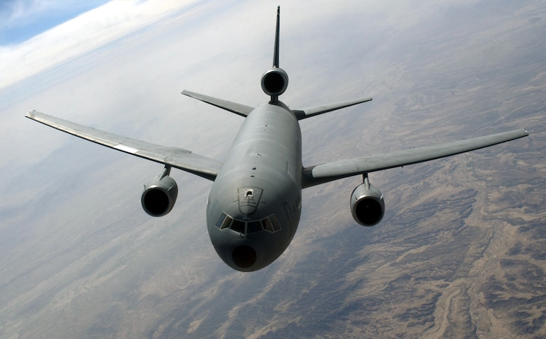 A KC-10 from McGuire Air Force Base, New Jersey, is flown over the Middle East. (U.S. Air Force photo by Cherie Thurlby)