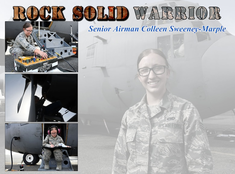 This week's Rock Solid Warrior is Senior Airman Colleen Sweeney-Marple, a 386th Expeditionary Aircraft Maintenance Squadron assistant dedicated crew chief. Sweeney-Marple is deployed from the 755th Aircraft Maintenance Squadron at Davis-Monthan Air Force Base, Ariz.