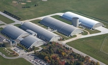 DAYTON, Ohio (11/2016) -- Aerial view of the National Museum of the U.S. Air Force. The museum collects, researches, conserves, interprets and presents the Air Force's history, heritage and traditions, as well as today's mission to fly, fight and win...in Air, Space and Cyberspace to a global audience through engaging exhibits, educational outreach, special programs, and the stewardship of the national historic collection. (U.S. Air Force photo by Ken LaRock, pilot Matt Kiefer)