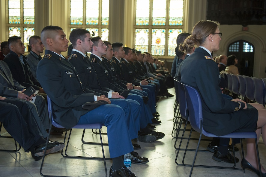 Members of the Reserve Officers' Training Corps listen as Defense Secretary Ash Carter makes remarks on the Force of the Future.