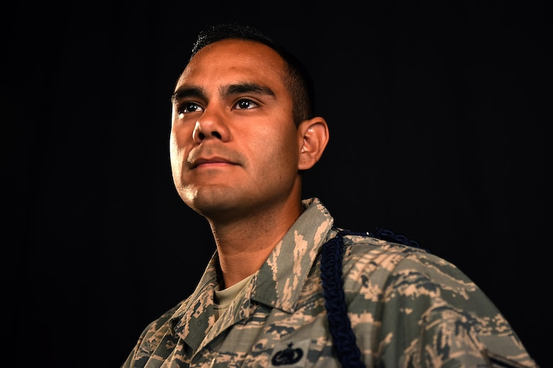 U.S. Air Force Tech. Sgt. Andres Oliva, 17th Training Group military training leader, earns his commission through the senior enlisted leadership commissioning program on Goodfellow Air Force Base, Texas, Oct. 31, 2016. Oliva will return to his previous job before his special duty as a logistic readiness officer. (U.S. Air Force photo by Airman 1st Class Caelynn Ferguson/Released)